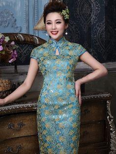 Blue Brocade Flower Appliqué Traditional Chinese Wedding Dresses Chinese Wedding Dress Traditional, Chinese Style, Elegant Girl, Flower Applique, Appliques, High Neck Dress, Fashion Outfits, Wedding Dresses, Places