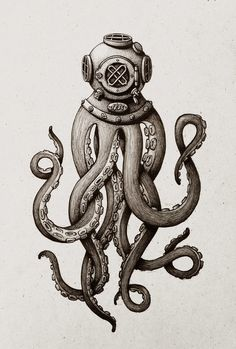 Ink drawing of an octopus an antique diving helmet.