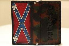 Rebel Flag Confederate Camouflage Custom Biker Wallet | Chain Wallet | Long Wallet | Roper Wallet | Cell Phone Wallet Case