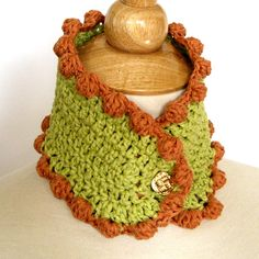 Crochet Cowl Collar with Bobbles - Ecofriendly Chartreuse and Rust. $34.00, via Etsy.