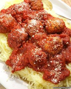Spaghetti Squash with Turkey Meatballs Recipe - a healthier option to traditional pasta and meatballs