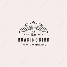 roaring bird logo retro hipster vintage vector icon illustration Stock Vector - 110400831