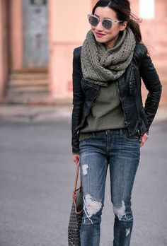 winter style layering ideas // circle / infinity scarf + sweater + faux leather moto jacket