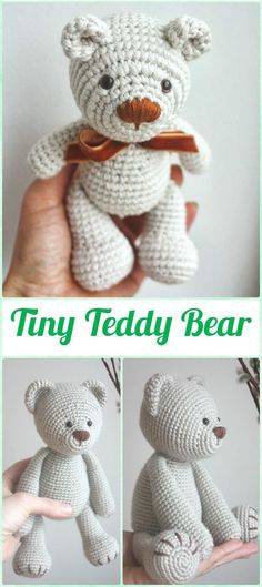 Amigurumi Crochet Tiny Teddy Bear Paid Pattern - Amigurumi Crochet Teddy Bear Toys Free Patterns by theresa Crochet Gratis, Crochet Diy, Crochet Patterns Amigurumi, Amigurumi Doll, Crochet Dolls, Crochet Ideas, Crochet Bear Patterns, Crochet Motifs, Crochet Animals