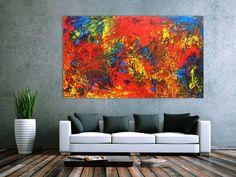 Abstraktes Acrylgemälde bunt modern speziell 120x200cm von xxl-art.de