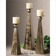 Cesano Candleholders in Antiqued Rustic Bronze (Set of 3) - 19652 - Lowest price online on all Cesano Candleholders in Antiqued Rustic Bronze (Set of 3) - 19652