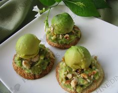 avocado mousse crostini appetizer with avocado balls