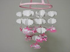Helicopter and Cloud Baby Mobile in Pink. $70.00, via Etsy.