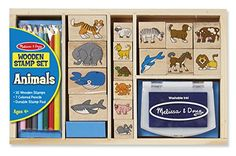 Melissa  Doug Wooden Stamp Set Animals  16 Stamps 4 Colored Pencils Stamp Pad ** Check out this great product. Note:It is Affiliate Link to Amazon. #jj