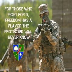 "US Military Army Rangers poster with quote ""For Those Who Fight For It, Freedom Has A Flavor The Protected Will Never Know"""