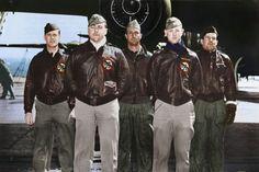 Crew No. 9: Lt. Harold F. Watson, pilot; Lt. James N. Parker Jr., copilot; Lt. Thomas C. Griffin, navigator; Sgt. Wayne M. Bissell, bombardier; TSgt. Eldred V. Scott, flight engineer/gunner. (U.S. Air Force photo colorized by Lori Lang)