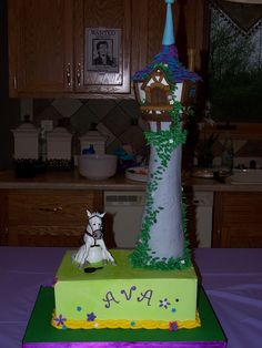 Tangled #Disney  birthday cake. Maximus is made from gumpaste. The tower all cake :)
