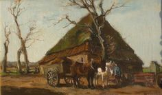 Olieverf op doek, 25 x 45 cm. Arnold Koning heeft heel veel paarden en wagens geschilderd. In talloze variaties.