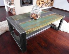 Rustic Handmade Reclaimed Wood & Steel Industrial Coffee Table by DesignInFocus on Etsy https://www.etsy.com/listing/225920826/rustic-handmade-reclaimed-wood-steel
