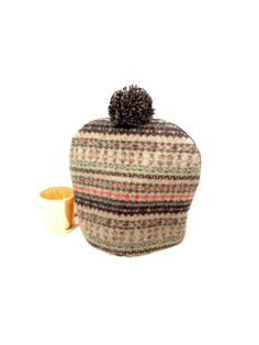 Tweed wool tea cozy Fair Isle sweater Brown green Woodland cabin cosy Tailored teapot cosy Menswear Pom pom Felted tea pot cosy