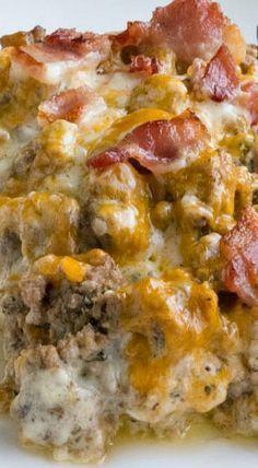 Bacon Cheeseburger Cauliflower Casserole http://www.sugarfreemom.com/recipes/bacon-cheeseburger-cauliflower-casserole/