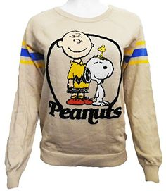Peanuts Womens Charlie Brown  Snoopy Knit Sweatshirt L Beige >>> More info could be found at the image url.