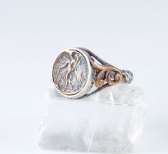 Ancient Greek Coin Ring - Sterling Silver - Men and Womens Coin Ring - Nike Goddess of Victory