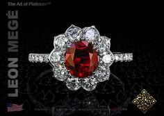 Lotus™ right hand ring featuring a 1.50 carat oval cut natural ruby by Leon Megé