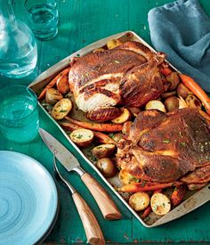 BBQ Rub Roasted Chickens with Potatoes and Carrots - This delicious and easy recipe makes enough to have leftover chicken for another meal. The traditional bbq rub mix is stellar, and you might want to keep some on hand in an airtight container to sprinkle across other dishes, such as pulled pork or a salmon steak. Small red potatoes and baby carrots roast alongside the chicken, so cleanup is easy.