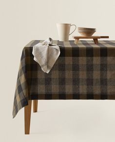 CHECK LINEN TABLECLOTH Linen Tablecloth, Table Linens, Tablecloths, Zara Home, United Kingdom, Improve Yourself, Ottoman, Table Settings, Chair