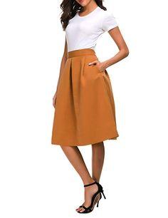 fb4893f486c5 Pytha Sight Womens Corduroy-Like High Waisted Skirt A Line Flared Midi Skirt