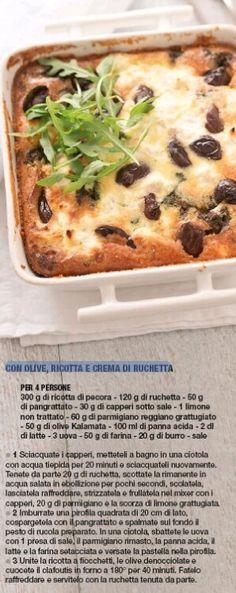 Clafoutis con olive, ricotta e crema di ruchetta