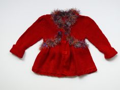 VALENTINES baby girl knitted cardigan. $68.00, via Etsy.