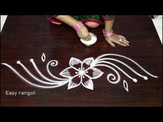creative and simple rangoli designs without dots - small kolam borders - beginners​ muggulu easy - YouTube