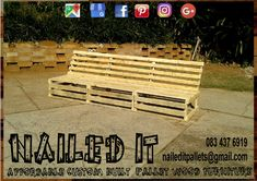 3 Meter Pallet Couch. Can comfotably sit 5-6 people. Affordable pallet wood furniture designed by you, built by us. For more info, contact 0834376919 or naileditpallets@gmail.com #patiofurniture #palletpatiofurniture #palletbenches #palletbench #palletbenchseat #nailedpalletfurnituredurban #naileditcustombuiltpalletfurniture #palletseating #custompalletfurniture #custompalletfurnituredurban