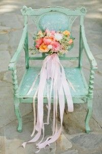 mint wedding ideas-Bouquet With Pink Ribbon Streamers