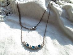 "Vintage Blue and White Gemstone 925 Sterling Silver ""16"" Necklace, Wt. 3.6 Grams by TamisVintageShop on Etsy"
