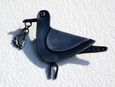 Seagull pasty brooch! Oxidised silver