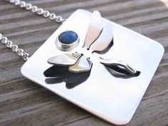 Sterling Silver Dragonfly Necklace with Paua Shell by AmityJewelry