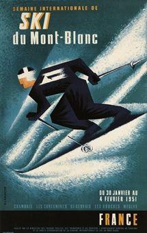 LANCASTER, E. Vintage Ski Poster - SKI DU MONT-BLANC 1951