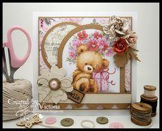 Vixx Handmade Cards: WILD ROSE STUDIO DT POST ~ TEDDY WITH PRESENT....