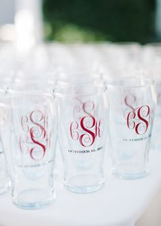 Monogrammed glassware favors | BRITT CROFT PHOTOGRAPHY | http://knot.ly/6497Bshec | http://knot.ly/6498BsheY