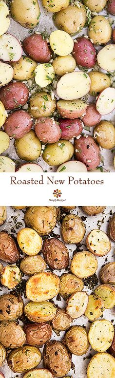 Oven roasted new potatoes recipe with olive oil, garlic, rosemary, and halved new potatoes. Delicious! On SimplyRecipes.com