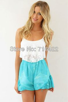Free shipping 2014 lace hollow yarn women blouses & shirts blusas femininas cool beachwear women clothing € 10,25