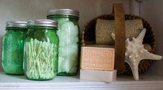 use Ball jars to organize bathroom supplies