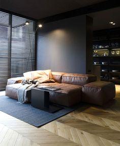 25 Modern Living Room Designs With Black Walls - Home Decor & Design Black And White Interior, White Interior Design, Black Home, Masculine Apartment, Masculine Bedrooms, Masculine Interior, Masculine Room, Living Divani, Living Rooms
