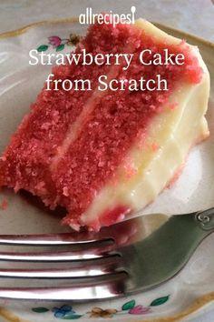 Strawberry Cake From Scratch, Strawberry Cake Recipes, Cake Recipes From Scratch, Homemade Strawberry Cake, Dessert From Scratch, Strawberry Cream Cakes, Chocolate Strawberry Cake, Just Desserts, Delicious Desserts