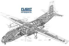 Fokker F-27 Friendship cutaway drawing