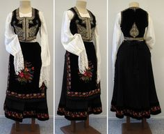 Woman's costume from Serbia including blouse, black vest with silver couching, velvet apron, and pleated back skirt Folk Costume, Costumes, Black Vest, Traditional Dresses, Costume Design, Culture, Style Inspiration, How To Wear, Collection