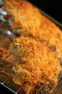 AMAZING. crispy buffalo chicken. -chicken breasts dipped in buffalo+ranch -breaded in panko+parm cheese -baked at 375 for 40 min perfection.