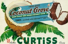 Vintage 1950s magazine ad, Curtiss Candy Coconut Grove Twin Bars, Quick magazine, December 3, 1951 | Photo credit: Vicki McClure Davidson, Flickr, Creative Commons, some rights reserved