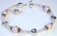 Valentine's Day Swarovski Crystal and Pearl Bracelet.