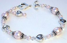 Swarovski Crystal and Rosaline (Pink) Pearl Heart Bracelet