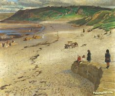 View Sennen beach by Dame Laura Knight on artnet. Browse upcoming and past auction lots by Dame Laura Knight. Summer Scenes, Knight Art, English Artists, British Artists, Beach Artwork, Art For Art Sake, Beautiful Paintings, Classic Paintings, Canvas Art Prints