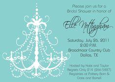 Tiffany Blue Chandelier - Bridal Shower, Bachelorette Party, Girls Night Out, Birthday Party Invitation - INCLUDES Return Address Printing. %s%.85, via Etsy.